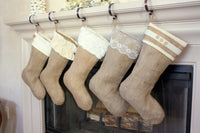 Classic Burlap Stocking - Burlap with Fleece Cuff & Two(2) Wooden Buttons