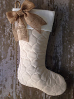 Quilted Stockings with Burlap Bow