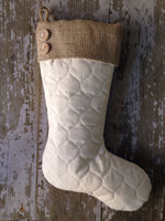 Single Quilted Stocking with Burlap Cuff and Buttons