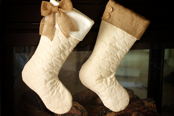 Quilted Stockings Set with Burlap Accents