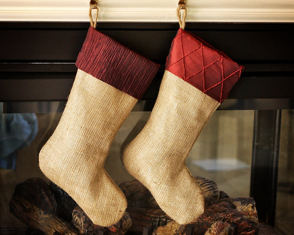 Set of Two Stockings with Burgundy Cuffs