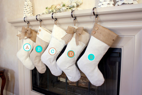 Christmas Stockings with Burlap Accents