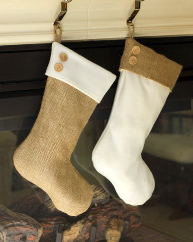 Two Burlap & Fleece Christmas Stockings