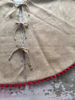 "36"" Inch Burlap Christmas Tree Skirt with Pom Pom Fringe"