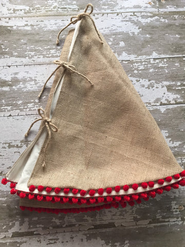Christmas Tree Skirt with Red Pom Pom