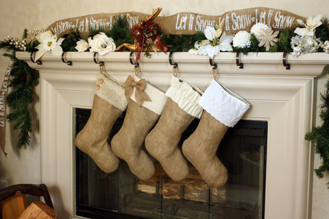 Set of Four  Burlap Stockings w/ White & Ivory Cuffs