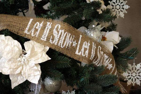 Let It Snow Burlap Garland - Five (5) Yards, Hand Painted