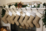 Burlap Stockings Set w/ White & Ivory Cuffs