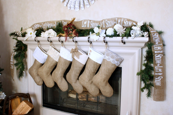 Set of Six  Burlap Stockings w/ White & Ivory Cuffs