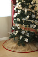 "56"" Inch Burlap Christmas Tree Skirt with Pom Pom Fringe"