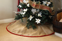 Burlap Christmas Tree Skirt with Pom Pom Fringe