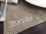 Embroidered Bride Burlap Place Mat