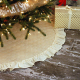 Christmas Tree Skirt with Hemmed Ruffle Fringe