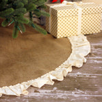 "56"" Inch Natural Burlap Tree Skirt with Hemmed Ruffle"