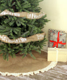"48"" Inch Natural Burlap Tree Skirt with Hemmed Ruffle"