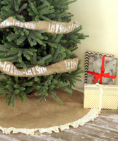 "36"" Inch Natural Burlap Tree Skirt with Hemmed Ruffle"