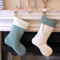 Burlap and Minky Dimple Child Stocking
