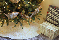 White Burlap Tree Skirt with Gold Flower Pattern