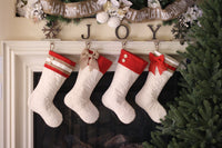 Quilted Stocking with Red Ribbon Stripe and Red Burlap Bow