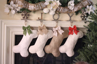 White Burlap Dog Bone Christmas Stocking with Optional Bow