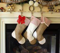 Christmas Stockings with Burlap and Red Ticking Accents