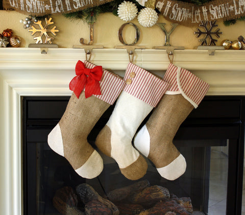 Christmas Stockings with Burlap and Red Accents set