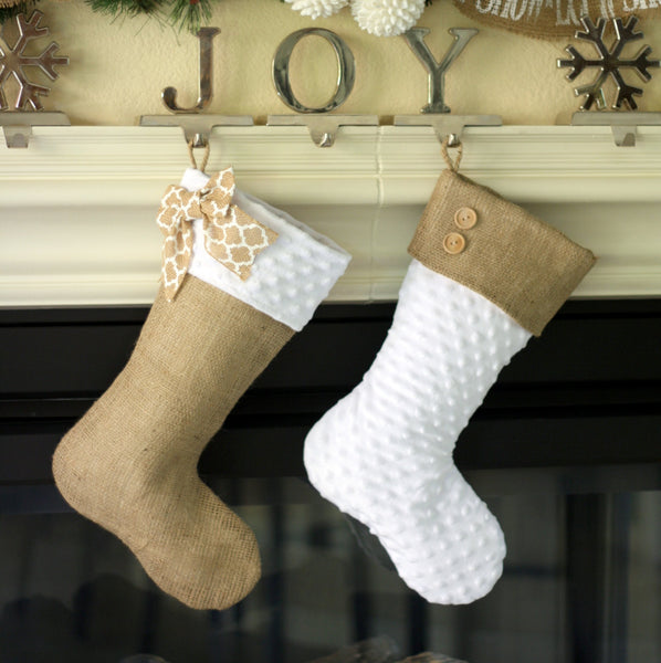 White Minky and Burlap Christmas Stocking Set