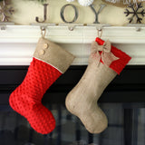 Burlap Stocking with Red MInky Cuff and Burlap Bow
