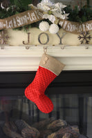 Red Minky and Burlap Christmas Stockings Set
