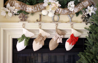 White Burlap Mini-Fish Stockings for Cats