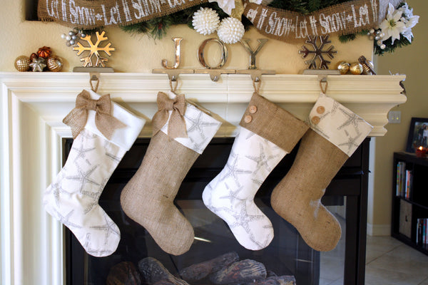 Burlap and Starfish Stockings Set of Four (4)