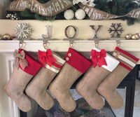 Burlap Stockings with Red Cuffs