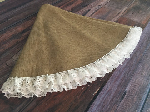 Natural Burlap Christmas Tree Skirt with lace trim - Fully Lined