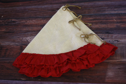 Tree Skirt with Hemmed Red Ruffle
