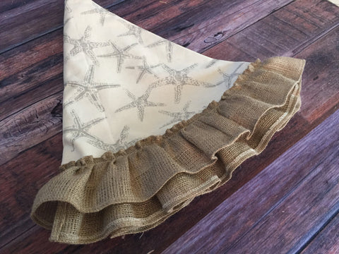 Starfish Christmas Tree Skirt with Natural Burlap
