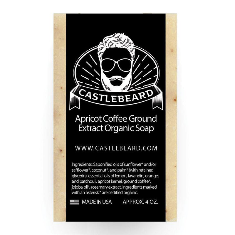 Apricot Coffee Ground Extract Exfoliating organic Beard soap - Castlebeard