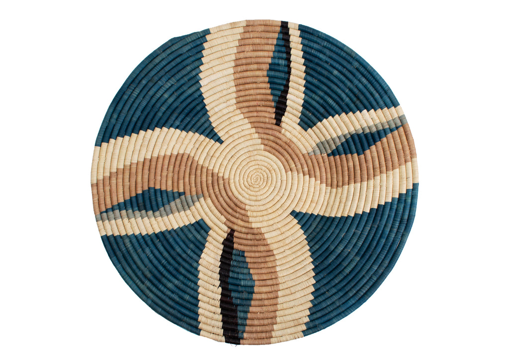 Hand  woven African large raffia plate