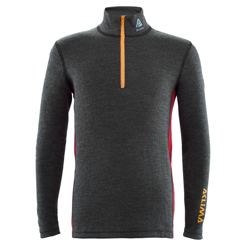 Aclima WarmWool Junior Mock Neck Langarmshirt aus 100 % Wolle (Merinowolle, mulesing-frei), Farbe Marengo/Chilli Pepper - WINTER-SALE