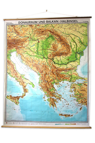 Map of Danube and Balkan Peninsula 7.5' x 6'
