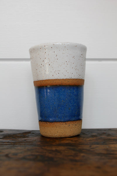Ceramic To-Go Mug: White & Blue - Diamonds & Rust