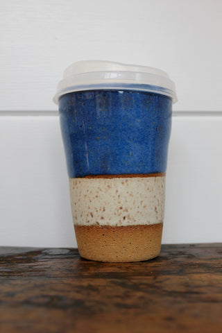 "Carmiclay ""Ceramic To-Go Mug: Blue & Sand"""