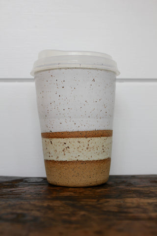 Carmiclay Ceramic To Go Mug: White & Sand