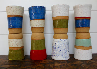 Ceramic To-Go Mug: White, Red, & Blue - Diamonds & Rust