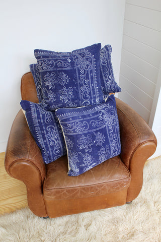 "Diamonds and Rust ""Vintage Indigo Batik Pillow: 20"""
