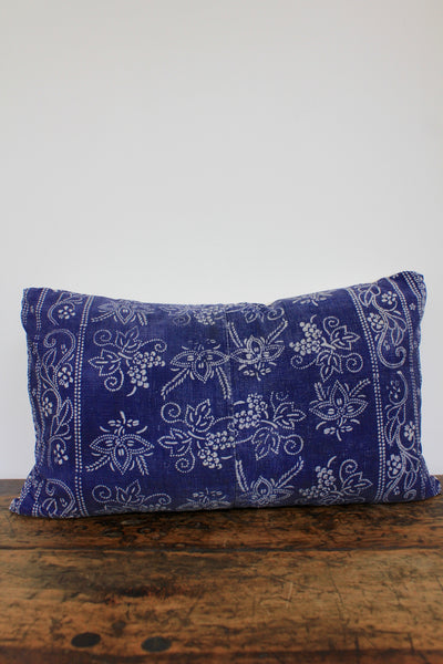 Indigo Batik Lumbar Pillow - Diamonds & Rust