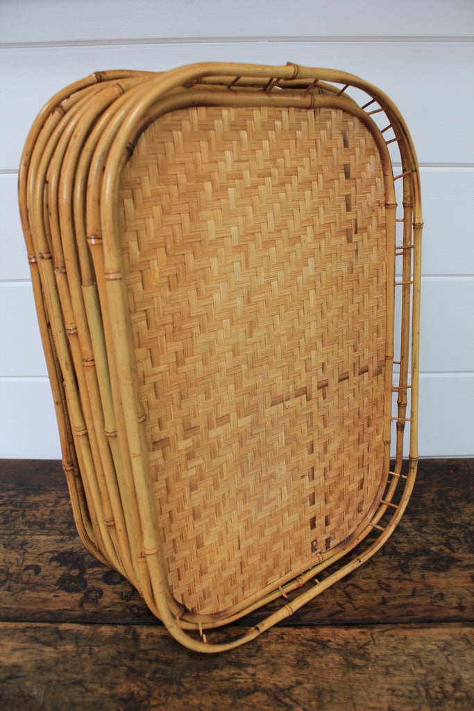 Vintage Bamboo Serving Trays - Diamonds & Rust