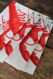Vintage Lobster Napkin Set - Diamonds & Rust