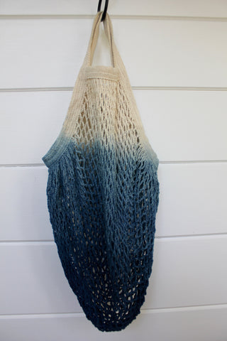 Indigo Dipped Net Bag: Short Handle