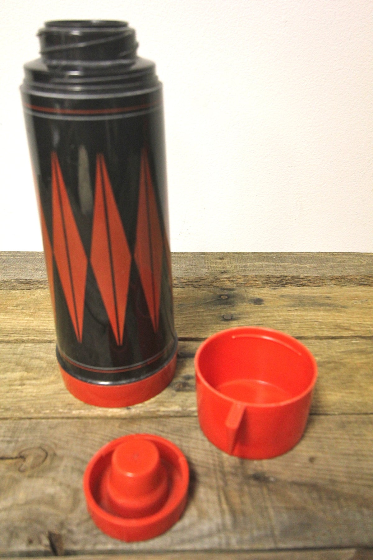 Vintage Black and Red Thermos