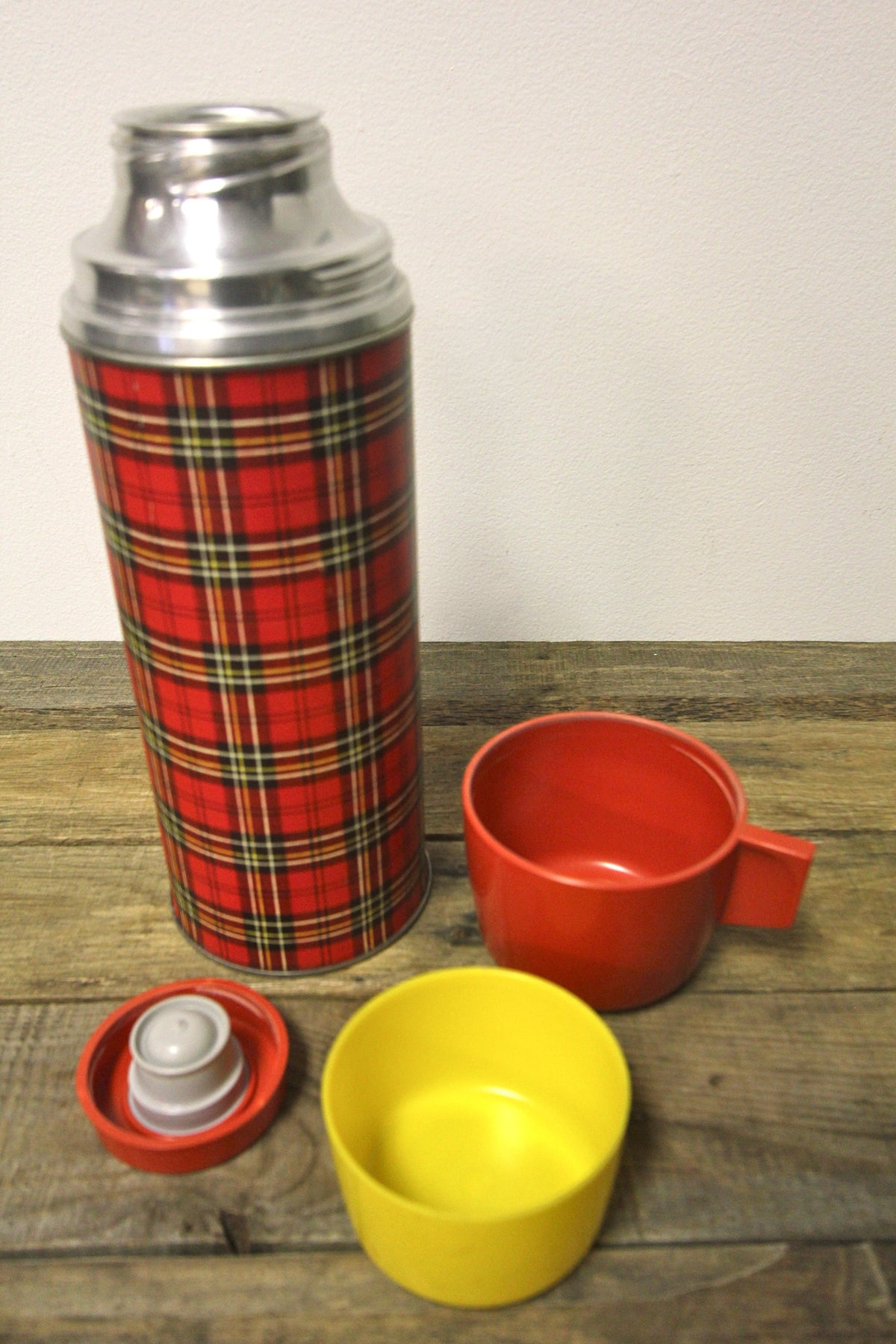 Vintage Black and Red Plaid Thermos